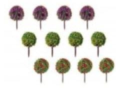 ต้นไม้จิ๋วทรงพุ่มกลม ชุด 5 ต้น ขนาด 3.5 ซ.ม.