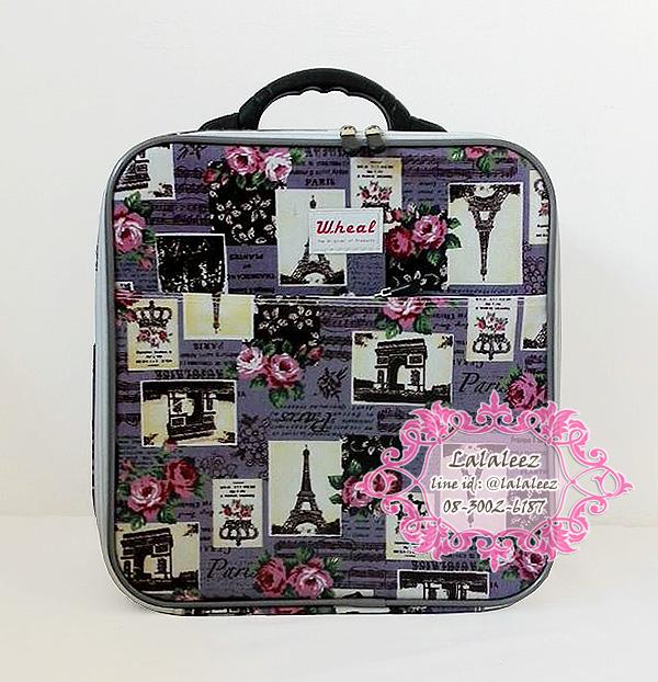 กระเป๋าเดินทางใบเล็กสีม่วง ไซส์ M ลายหอไอเฟล