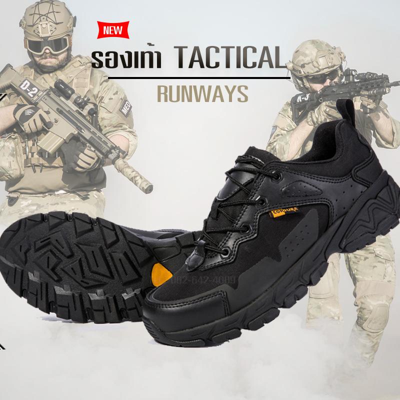 รองเท้า TACTICAL รองเท้าเดินป่า Runway No.2 สีดำ