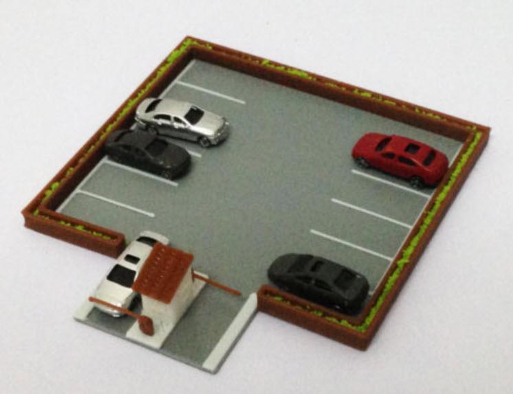 สเกล 1:220 ลานจอดรถ + รถ 5 คัน