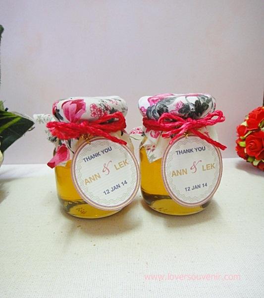 น้ำผึ้ง บรรจุขวดแก้วสก๊อตใหญ่ ตกแต่งผ้า