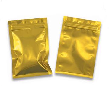 ถุงฟอยด์สีทองเงา ทึบ 2 ด้าน ซิปล็อค ตั้งไม่ได้