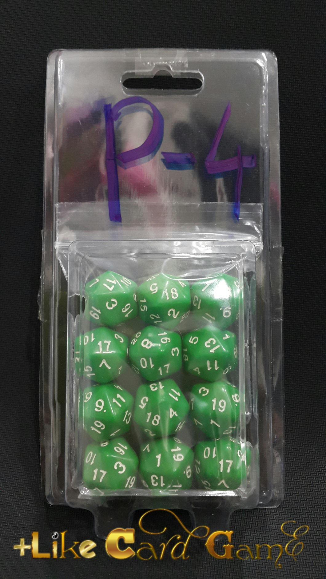 ลูกเต๋า 20 หน้า 3 ลูก (สีเขียวด้าน) P-4