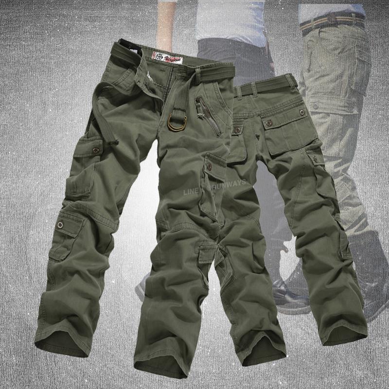 กางเกงคาร์โก้ Cargo Pants - สีเขียวเข้ม