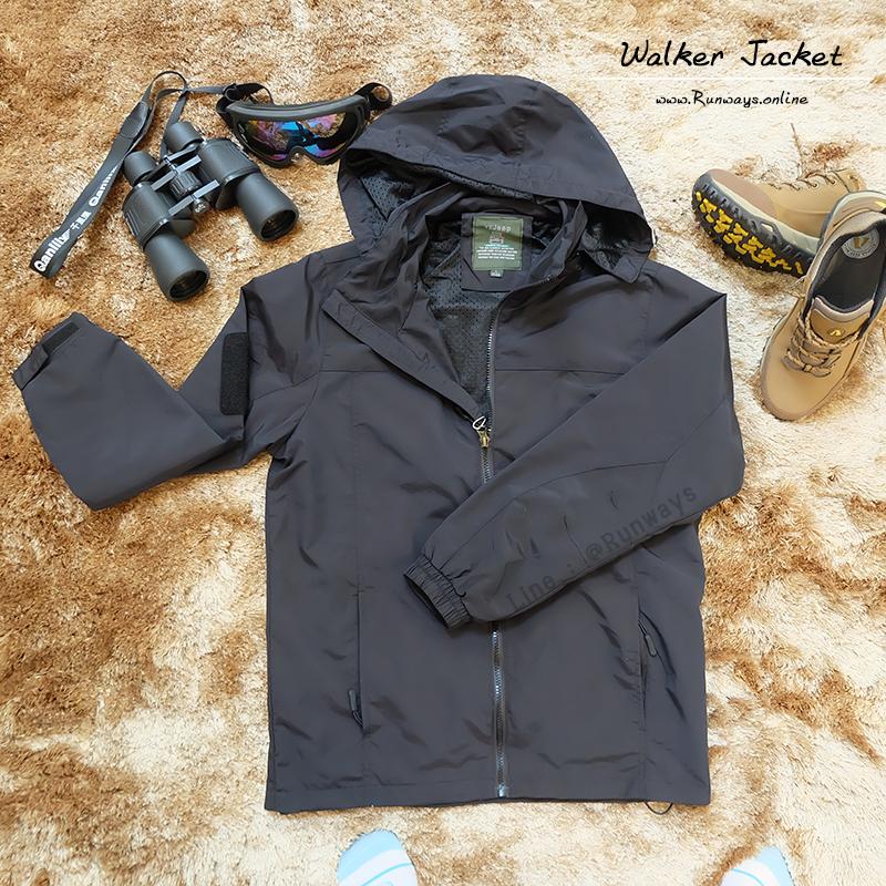 WALKER JACKET เสื้อแจ็คเก็ตกันลม กันน้ำ กันแดด : สีดำ