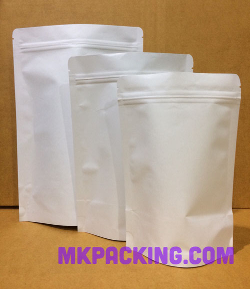 ถุงกระดาษคราฟท์ขาวไม่เคลือบ ทึบ ด้านในฟอยล์ ซิปล็อค ตั้งได้ ขนาด 13x21+4 ซม.
