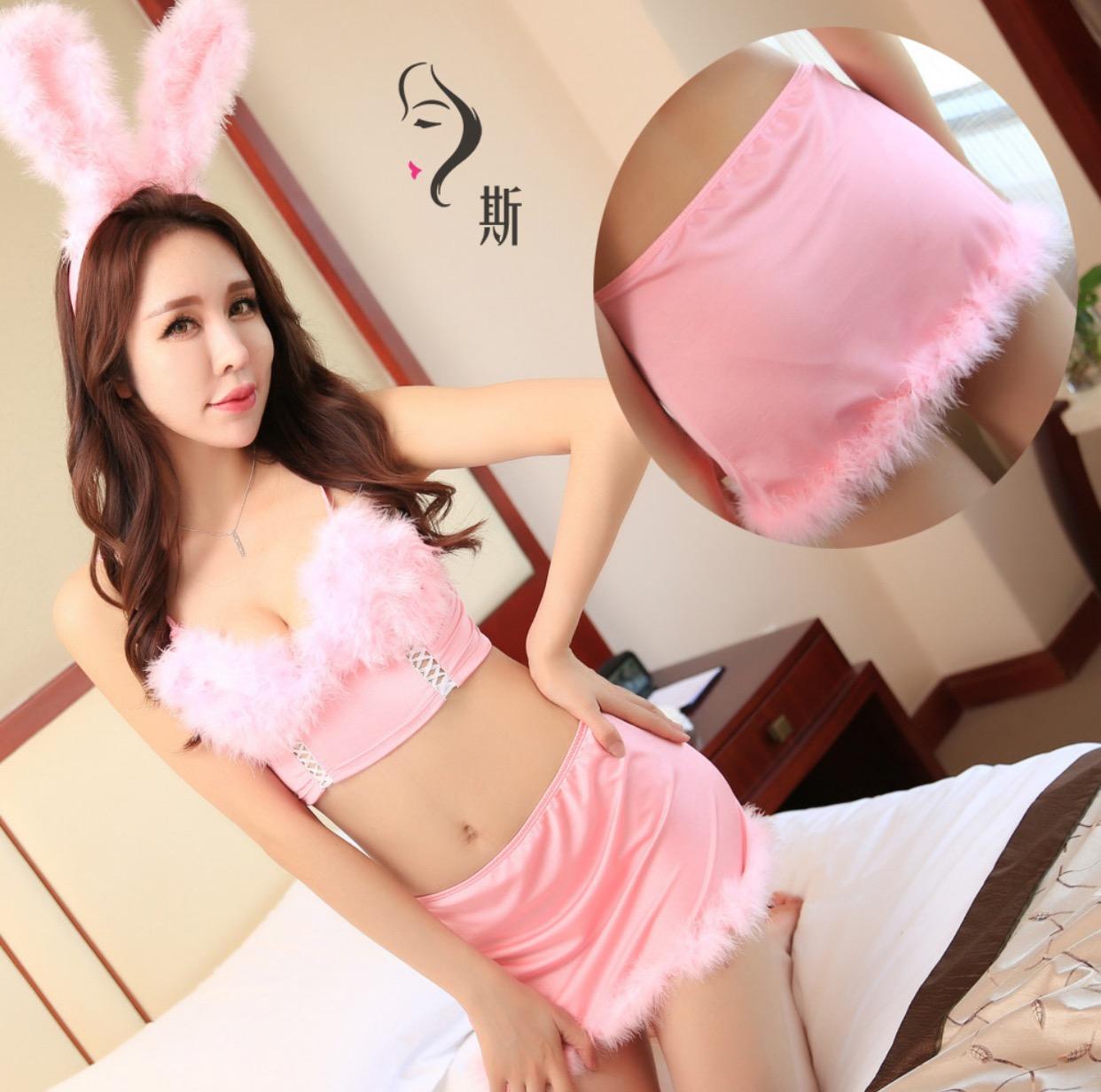 ชุดกระต่ายฟรุ้งฟริ้งสีชมพู มาครบเซทนะค้า