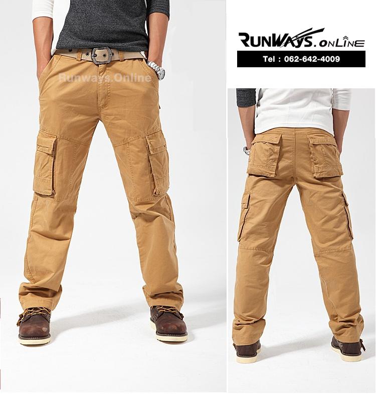 กางเกงคาร์โก้ Cargo Pants RW02 - สีทราย