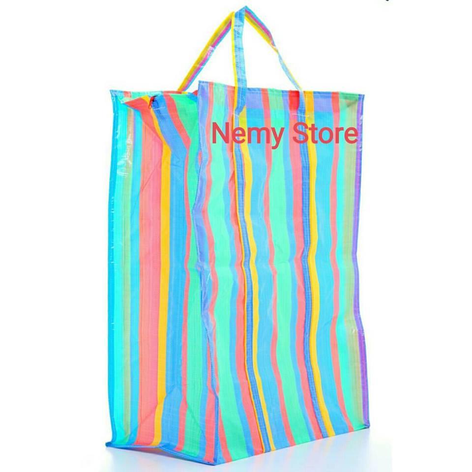 ถุงแม่ค้า ถุงกระสอบ สายรุ้ง Size4 เบอร์048 ขนาด 56*45*30ซม. ราคาส่งใบละ 55 บาท