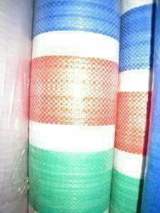 ผ้ากระสอบพลาสติก ผ้าฟาง ลายริ้ว 4สี ลายธงชาติ สายรุ้ง (72 สี่สีเคลือบ) หลาละ 25 บาท