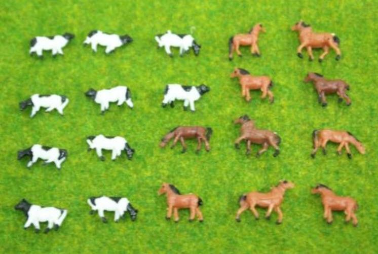 สเกล 1:160 วัว + ม้า คละแบบ 10 ตัว