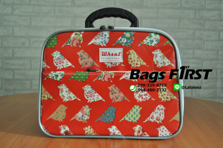 กระเป๋าผ้า สีแดง ลายนก ขนาด 12 นิ้ว