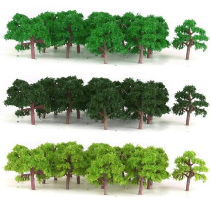 ต้นไม้ สเกล 1:300 คละสี 75 ต้น 4 ซ.ม.