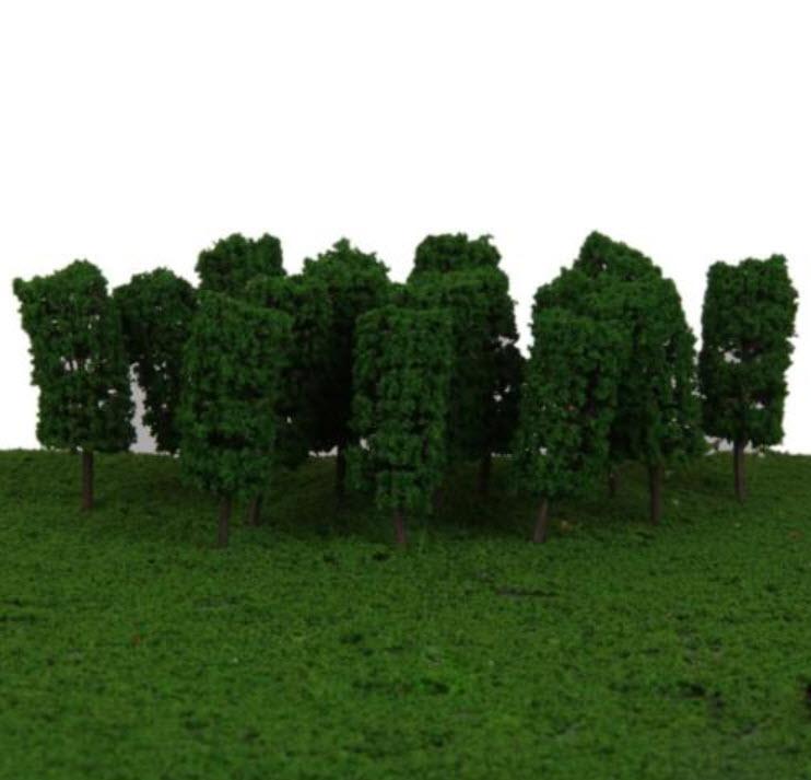ต้นไม้ สเกล 1:300 สูง 3.5 ซ.ม. สีเขียวเข้ม / 25 ต้น