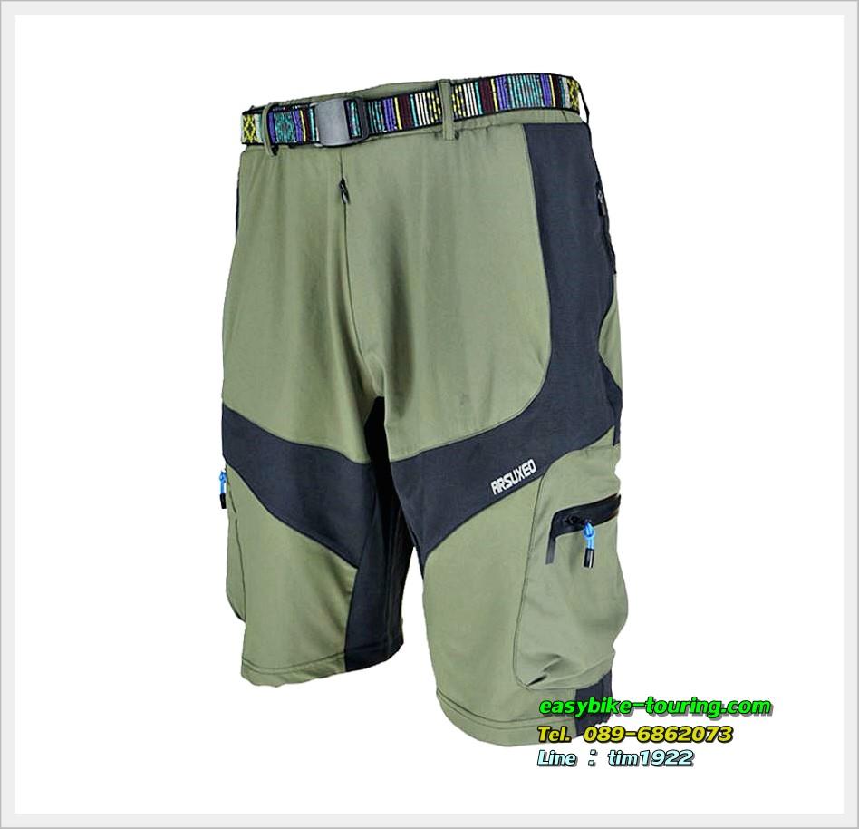 กางเกงขาสั้น ARSUXEO ผ้าแห้งเร็ว / สีเขียวแถบดำ