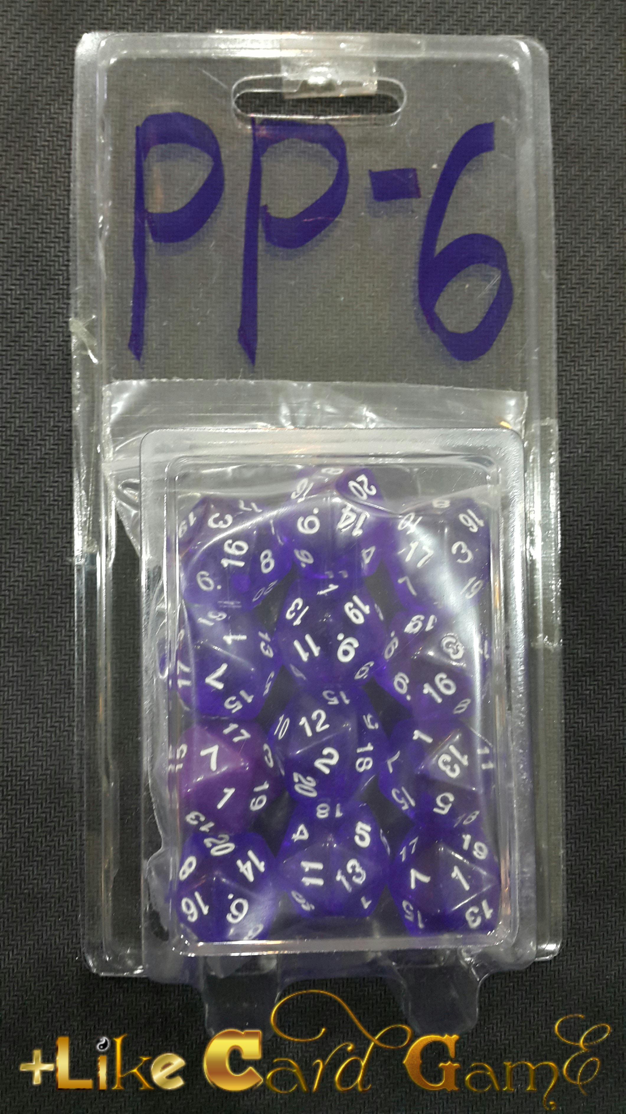 ลูกเต๋า 20 หน้า 3 ลูก (สีฟ้าใส) PP-6
