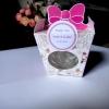 กล่องกระดาษโบว์สีชมพู สี่เหลี่ยม + แก้วช็อตใบเล็ก