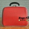 กระเป๋าผ้า หน้านูน สีแดง ลายจุดสีขาว ขนาด 12 นิ้ว