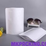 ถุงกระดาษสีขาวเคลือบด้าน ทึบ ซิปล็อค ตั้งได้ ขนาด 14x20+4cm