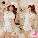ชุดนางพยาบาลสาวหวาน สีขาว