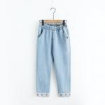 ★ พร้อมส่ง ★ กางเกงยีนส์ขายาวปักแต่งลาย (SIZE L)