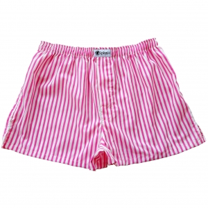 กางเกงบ๊อกเซอร์ผู้ชายลายทางสีชมพู-ขาว