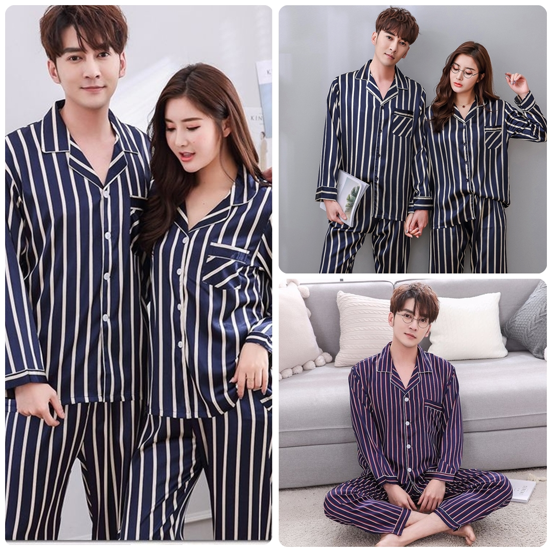 ชุดนอนผ้าซาติน | ลายร่อง สี สลับ ^ขายาว สวย ๆ